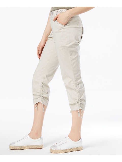 Beige Curvy Fit Studded Cargo Pants