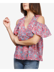 Pink Cold Shoulder Printed V Neck Baby Doll Top
