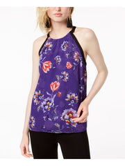 Purple Floral Sleeveless Halter Top