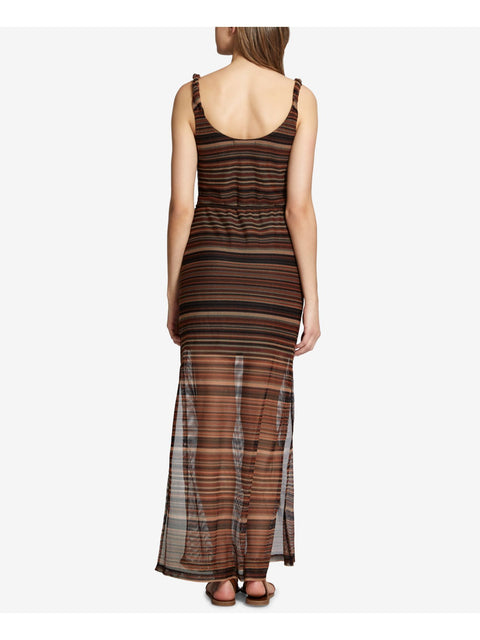 Brown Striped Sleeveless Scoop Neck Maxi Cocktail Dress