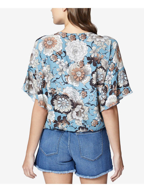 Light Blue Ruffled Printed Lace Up Short Sleeve Jewel Neck Top
