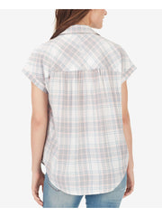Ivory Plaid Short Sleeve Top