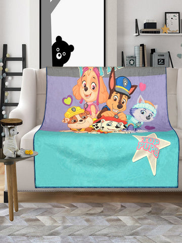 SARAL Home Paw Patrol Soft Velvet, Reversible Printed Kids  Sofa  blanket / Cover (Blue- (125x150 cm.)