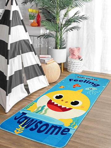 Saral Home Baby Shark Printed Polyester Anti-Skid Exercise/Yoga Mat - Blue, 60x130 Cms