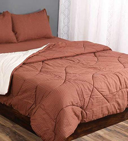 Saral Home Combo of Cotton Bedsheet with Pillow Covers & Quilt-Brown