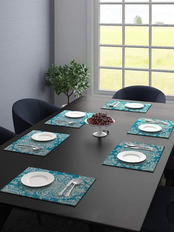 Saral Home Velvet Printed Decorative Abstract Design Place Mat Set of 6 Pices -30x44 cm