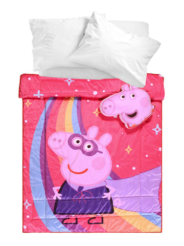 Peppa Pig Velvet Quilt with 2 Cushions- Pink, 135X210 Cms