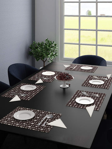 Saral Home Cotton Decorative Place Mat Set of 6 Pieces -34x45 cm, (with Free 6 Pieces Napkins)