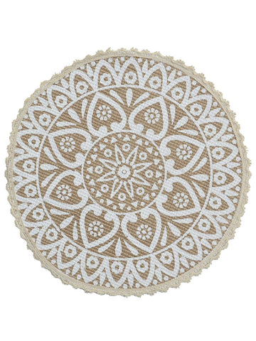 Saral Home Decorative Jute & Cotton Printed Table Mat,White