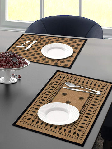 Saral Home Black Decorative Jute Printed Table Placemat - Pack of 2 Pc, 33x45 Cms
