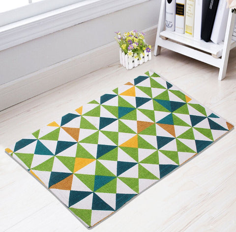 Saral Home Combo of Cotton Floor Rugs (Blue and Green, 50x70cm, 50x80cm) - Set of 2