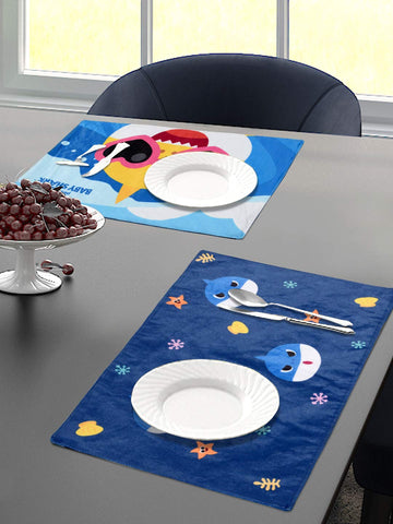 Saral Home Baby Shark Velvet Dining Table Placemats Set of 2- (Pink, 30x45 cm)