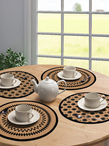 Saral Home Black Jute & Cotton Printed Table Mat - Pack of 4 pc, 38x38 Cms