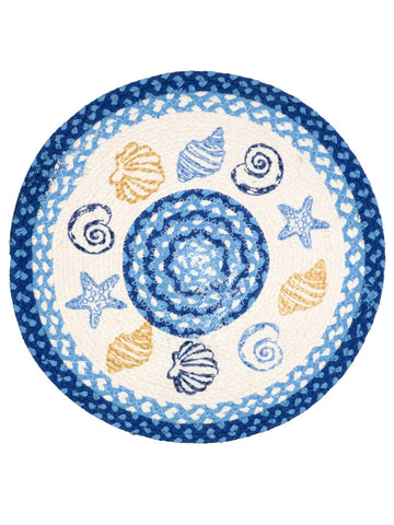 Saral Home Blue Cotton Printed Table Mat - Pack of 2 pc, 38x38 Cms