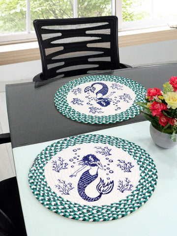 Saral Home Green Cotton Printed Table Mat - Pack of 2 pc, 38x38 Cms