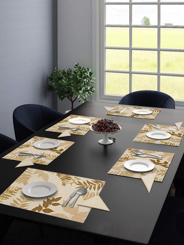 Saral Home Cotton Decorative Place Mat Set of 6 Pieces -34x45 cm, Gold (with Free 6 Pieces Napkins)