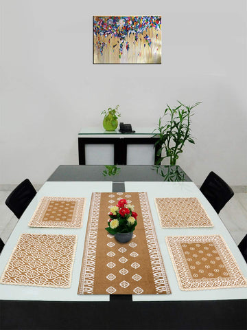 Saral Home Cotton Dining Table Kitchen Placemats, 4 Mat -33x45cm, 1 Runner 33x120 cm (Set of 5), Beige