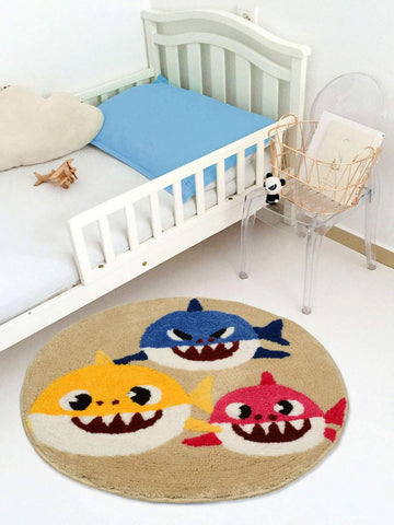 Saral Home Baby Shark Soft Microfiber Kids Multipurpose Round Mat - 60 Cms