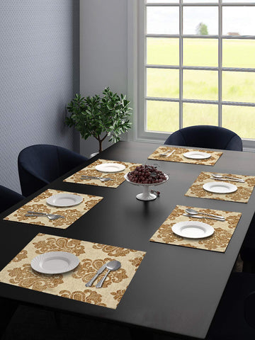 Saral Home Unique Quality Viscose Dining Table Kitchen Place mats Pack of 6 (34X45CM, Gold)