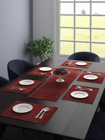 Saral Home Unique Quality Viscose Dining Table Kitchen Placemats, 6 Mat -33x45cm, 1 Runner 33x120 cm (Set of 7),