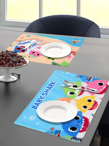 Saral Home Baby Shark Velvet Dining Table Placemats Set of 2- (Turquoise, 30x45 cm)