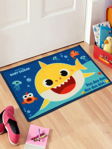 Saral Home Baby Shark Polyester Printed Anti Slip Door Mat- 40x60 cm, Blue