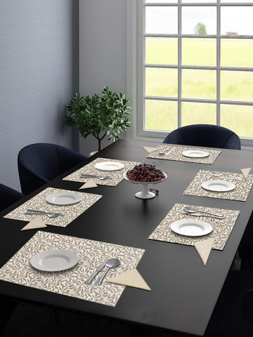 Saral Home Cotton Decorative Place Mat Set of 6 Pieces -34x45 cm (with Free 6 Pieces Napkins)