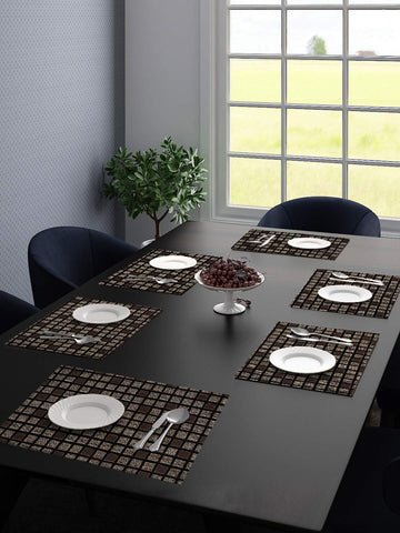 Saral Home Unique Quality Viscose Dining Table Kitchen Placemats Pack of 6 (34X45 cm Grey)