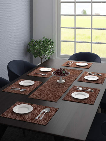 Saral Home Unique Quality Viscose Dining Table Kitchen Placemats, 6 Mat -33x45cm, 1 Runner 33x120 cm