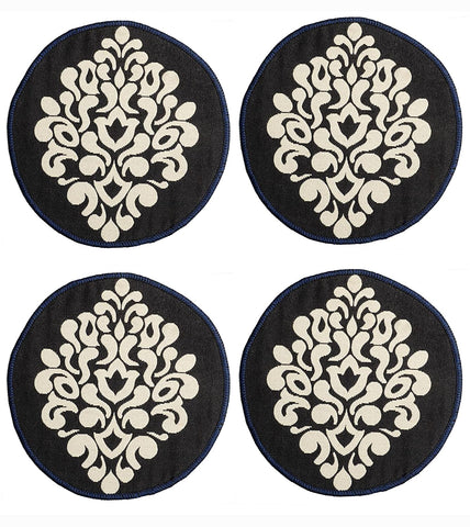 Saral Home Decorative Cotton Table Mat (Pack of 4 pc, 39x39 cm 2pc n 31x31 cm 2pc), Black