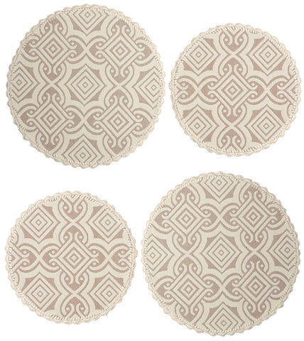 Saral Home Decorative Cotton Table Mat (Pack of 4 pc, 39x39 cm 2pc n 31x31 cm 2pc), Beige