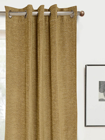 Pacman Chenille & Polyester Yarn Blackout Door Curtains - ( Set Of 2, 4x7 Ft  )- Gold