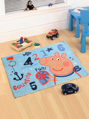 Peppa Pig character printed Multipurpose Cotton Rugs (Turquoise-50*70CM)