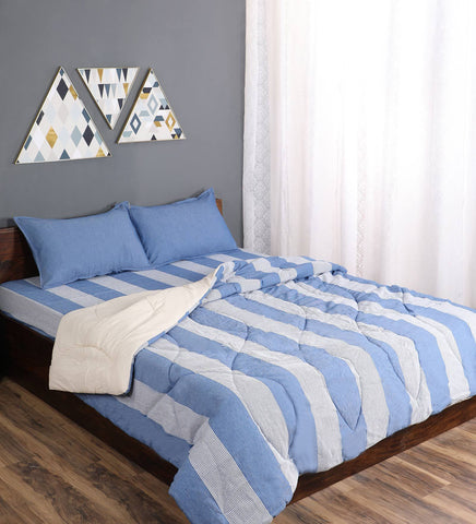 Saral Home Combo Of Cotton Bedsheet With Pillow covers & Quilt- Blue