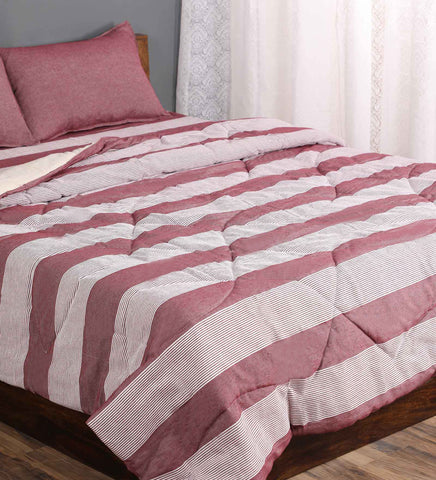 Saral Home Combo Of Cotton Bedsheet With Pillow covers & Quilt - Maroon