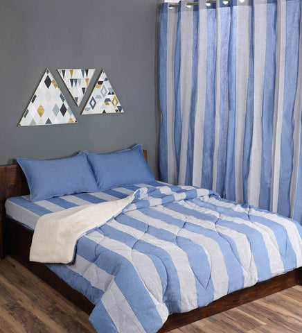 Combo Of Cotton Bedsheet With Pillow Covers, Quilt & Curtains-Blue
