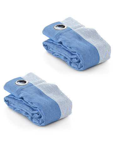 Bamboo Stripes Door Curtains - ( Set Of 2, 4x7 Feet Cotton Yarn Eyelet ) - Blue