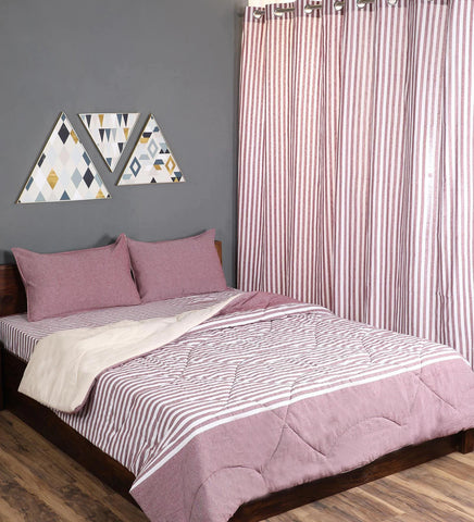 Saral Home Combo Of Cotton Bedsheet With Pillow Covers, Quilt & Curtains - Maroon