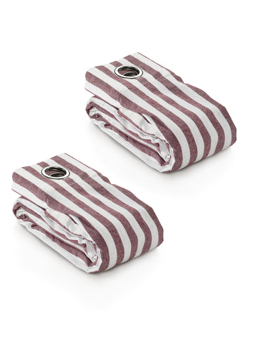 Saral Home Stripes Cotton Yarn Eyelet Door Curtains - ( Set Of 2, 4x7 Feet  ) Maroon