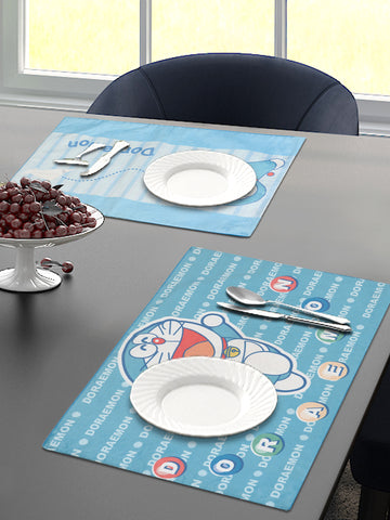 Saral Home Doraemon Velvet Dining Table Placemats - Turquoise, 30x45 CM