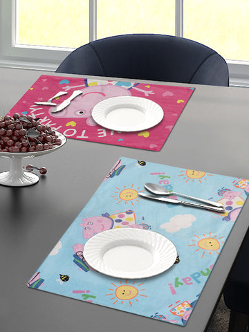 Saral Home Peppa Pig Velvet Dining Table Placemats - Pink, 30x45 CM