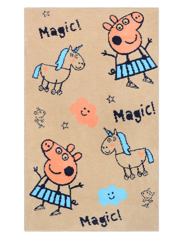 Peppa-Pig Circular Knitting Carpet (80x130cm-Beige)