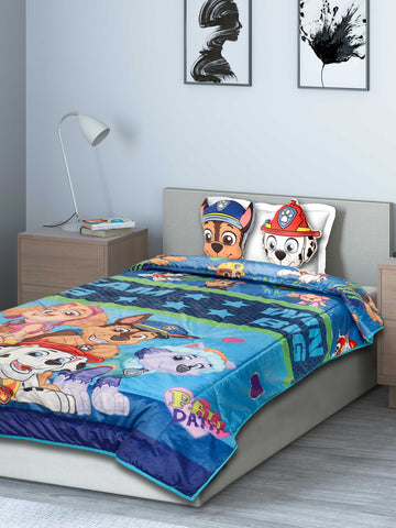 Saral Home Paw Patrol Quilt with 2 Cushions- Multi, 135X210 Cms