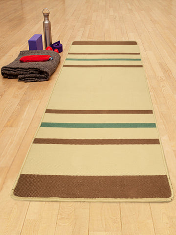 Saral Home Sadhna Design Hand Woven Anti-skid Washable Yoga Mat + Carry bag(70x170cm)