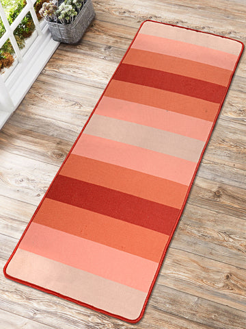 Saral Home Mee Time Design Hand Woven Anti-skid Washable Yoga Mat + Carry bag(70x170cm)