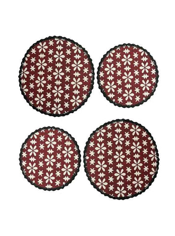 Saral Home Decorative Cotton Table Mat (Pack of 4 pc, 39x39 cm 2pc n 31x31 cm 2pc),