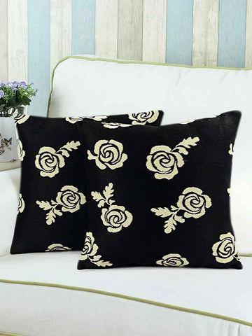 Saral Home Brown Rose Floral Polyester Sofa Cushion Cover (Set of 2Pc, 40x40 cm)