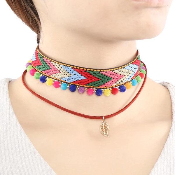 2 Style Rainbow Colorful Peacock Phoenix Dragon Ball Boho Ethnic Choker Necklace