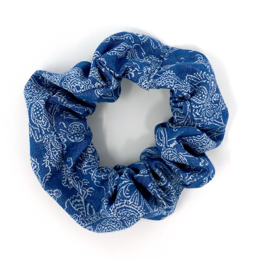 Scrunchie - Blue Denim Floral Print