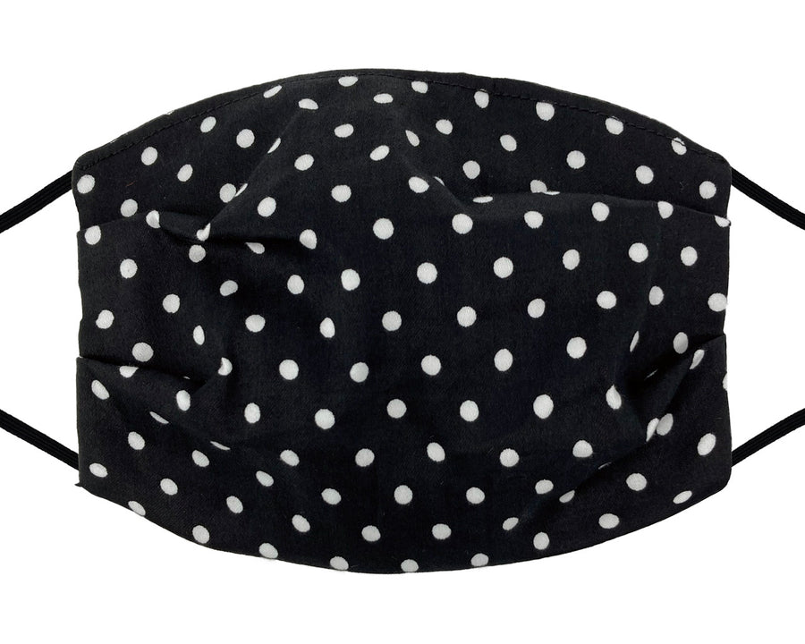 Fashion Mask - Cotton - White Polka Dot on Black